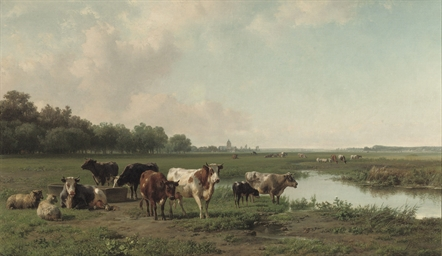 Watering cattle in a panoramic