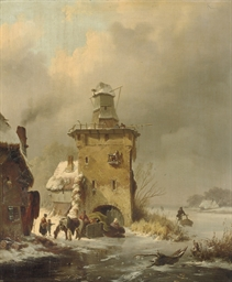 A winter landscape with people