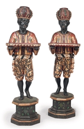 A PAIR OF PAINTED WOOD BLACKAM