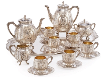 A GERMAN SILVER FOUR-PIECE TEA