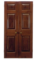 A DOUBLE MAHOGANY DOOR