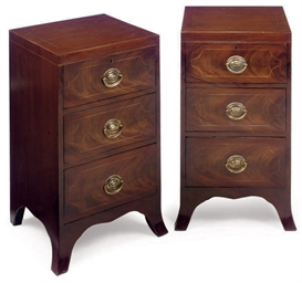 A PAIR OF MAHOGANY LINE INLAID