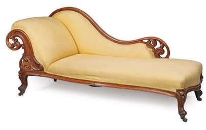 A MID-VICTORIAN WALNUT CHAISE