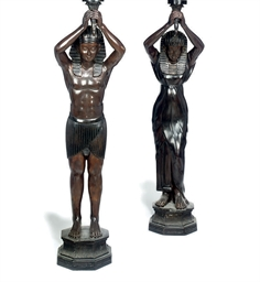 A PAIR OF BRONZE TORCHERE LAMP