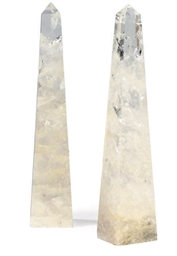 A PAIR OF ROCK CRYSTAL TABLE O