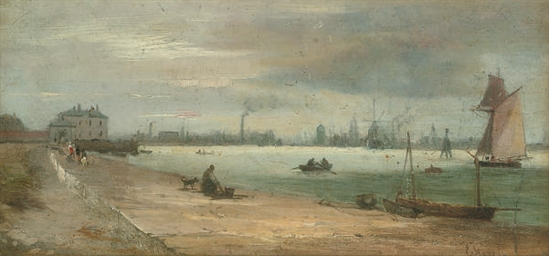 The shore of the river Mersey,
