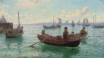 Lobster fishermen leaving harbour