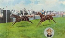 Bachelor's Button beating Pretty Polly in The Gold Cup at Ascot, 1906