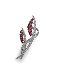 BROCHE RUBIS ET DIAMANTS, MONT
