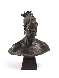 A GERMAN PATINATED BRONZE BUST