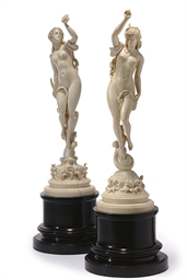 A PAIR OF FRENCH IVORY FIGURES