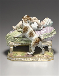 A MEISSEN GROUP OF A BABY AND