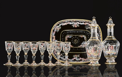 A LOBMEYR GLASS LIQUEUR SET