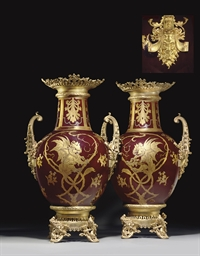 A PAIR OF MASSIVE ORMOLU-MOUNT