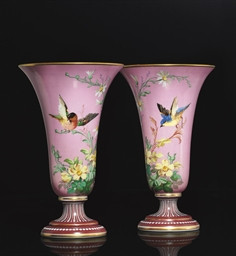 A PAIR OF BACCARAT PINK AND WH
