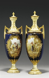 A PAIR OF COALPORT COBALT-BLUE