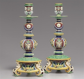 A PAIR OF MINTON BLUE AND GREE