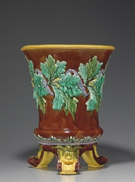 AN ENGLISH MAJOLICA BROWN-GROU
