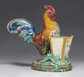 A MINTONS MAJOLICA COCKEREL SP