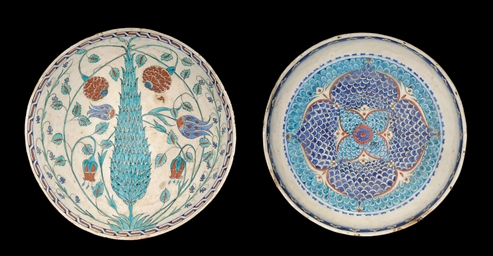 TWO LARGE POTTERY KUTHAYA BOWL