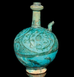 A TURQUOISE UNDERGLAZE PAINTED