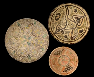 THREE NISHAPUR POTTERY BOWLS,