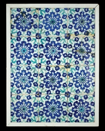 AN OTTOMAN BLUE AND WHITE TILE