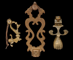THREE QAJAR DOOR KNOCKERS, IRA