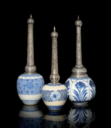 THREE KANGXI EXPORT WARE BLUE-