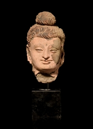 A GANDHARA STUCCO BUDDHA HEAD