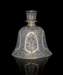 A SILVER ENAMELLED HUQQA BASE,