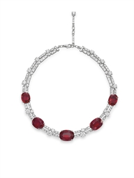 A SPINEL AND DIAMOND NECKLACE,
