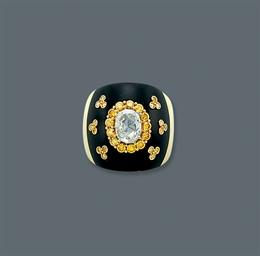 A DIAMOND AND EBONY RING