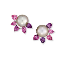 A PAIR OF CULTURED PEARL AND S