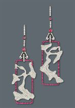 A PAIR OF DIAMOND AND RUBY EAR PENDANTS, BY CINDY CHAO