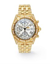 A GOLD, DIAMOND AND MOTHER-OF-PEARL AUTOMATIC CHRONOGRAPH WR