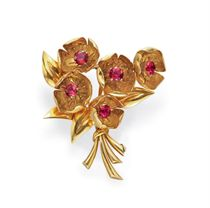 A RETRO GOLD AND PINK TOURMALINE BROOCH, BY VAN CLEEF & ARPE