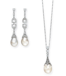 A SUITE OF PEARL AND DIAMOND J