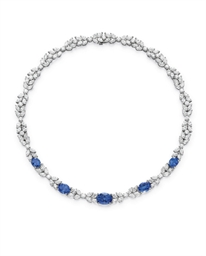 A TANZANITE AND DIAMOND NECKLA