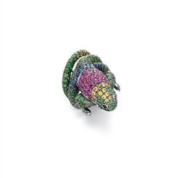 A MULTI-GEM IGUANA RING, BY BO