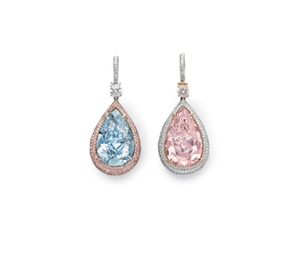 A PAIR OF SUPERB COLORED DIAMO