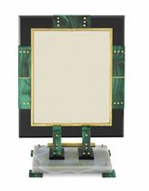 THE JESSIE WOOLWORTH DONAHUE ART DECO MALACHITE, ONYX AND ENAMEL PICTURE FRAME, BY OSTERTAG