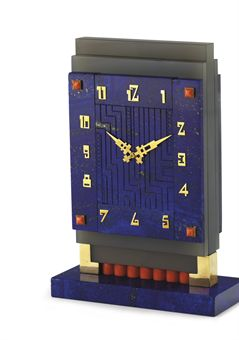 **AN ART DECO LAPIS LAZULI AND CORAL DESK CLOCK, BY BOUCHERON