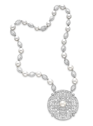 A DIAMOND AND PEARL PENDANT NE