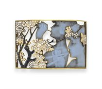 AN ART NOUVEAU ENAMEL AND DIAMOND DOG COLLAR, BY RENE LALIQUE