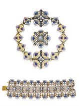 """A SUITE OF ART NOUVEAU DIAMOND, STAR SAPPHIRE AND ENAMEL """"THISTLE"""" JEWELRY, BY RENE LALIQUE"""