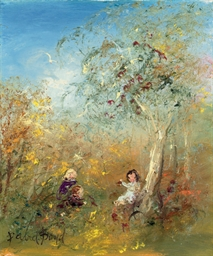 Children playing in the bush