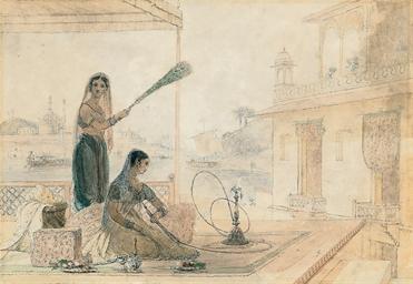 A woman smoking a hookah pipe,
