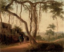 An Indian landscape with figures by a ruin under a banyan tree