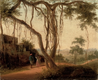 An Indian landscape with figur